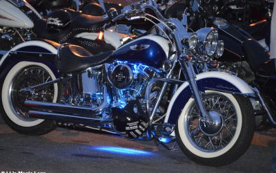 Old School Motorcycle with Blue Lights!
